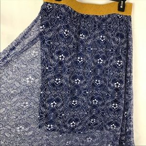 Blue & Gold Lularoe Lola stretch waist skirt sz L